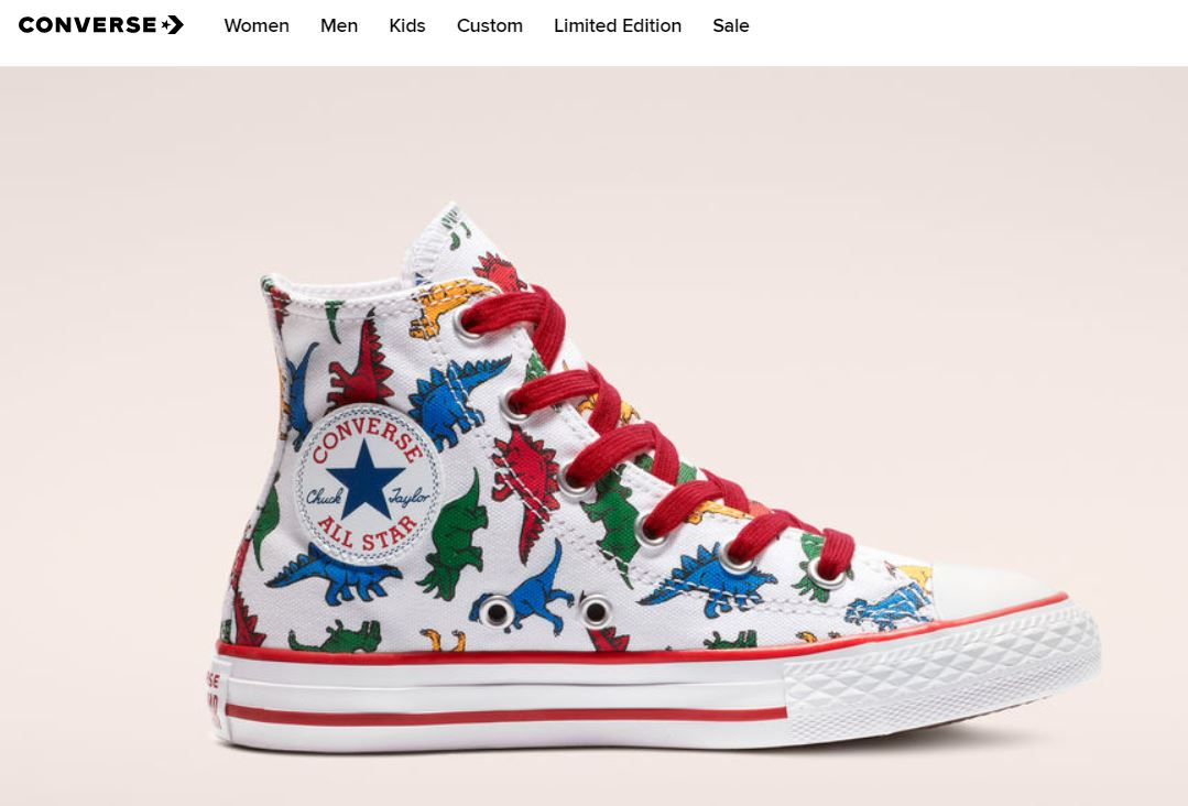 "14b4c5e67a72 The ""Dinoverse"" collection is inspired by playful dinosaur prints that put  a ""prehistoric spin"" on their iconic Chuck Taylor All-Star sneakers."