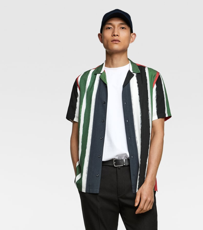 41253484fb The designs are centered around Zara's flowy bowling shirts with spread  lapel collar and short sleeves. The shirts come with geometric shapes, ...