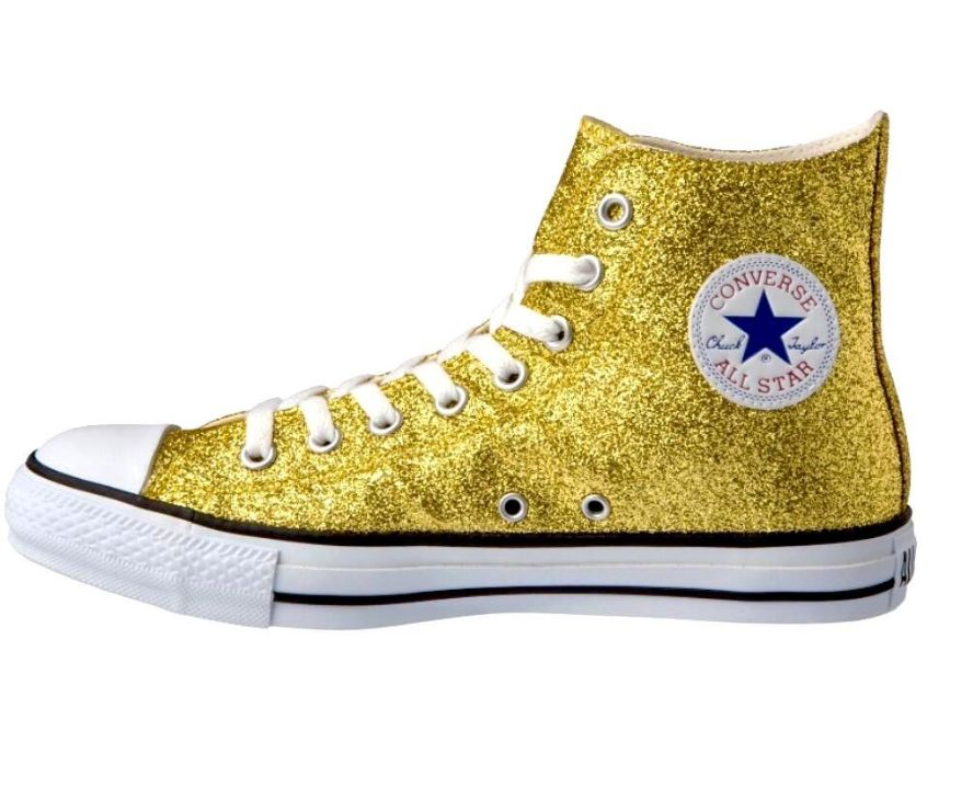 Yellow Converse sparkles and glitter